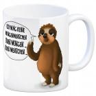 Kaffeebecher mit Faultier Motiv und Spruch: Ich mag keine Morgenmenschen, ...