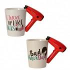 Friseur 3D Kaffeebecher mit Föhn als Griff im 2er Set