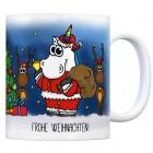 Honeycorns Kaffeebecher mit Einhorn Weihnachtsmann Motiv und Spruch: Frohe Weihnachten