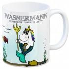 Sternzeichen Kaffeebecher mit Einhorn Wassermann Motiv