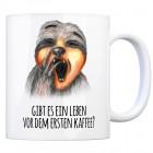 Kaffeebecher mit Faultier Motiv und Spruch: Gibt es ein Leben vor dem ersten ...