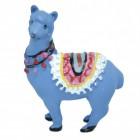 Lama Dekofigur in blau stehend