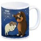 Kaffeebecher mit Faultier Sternzeichen Widder Motiv