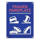 Metallschild mit Frauenparkplatz Motiv