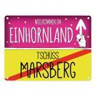 Willkommen im Einhornland - Tschüss Marsberg Einhorn Metallschild