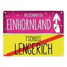 Willkommen im Einhornland - Tschüss Lengerich Einhorn Metallschild