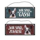 Wir sind Gassi/Zuhause - Französische Bulldogge Wendeschild mit Kordel