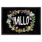 Willkommen Fußmatte mit Blumen Motiv und Begrüßung: Hallo
