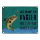 Angler mit dem Fang seines Lebens Blechschild in 15x20 cm