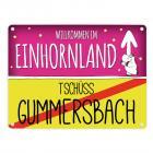 Willkommen im Einhornland - Tschüss Gummersbach Einhorn Metallschild