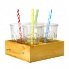 Summer Party Gläser im 4er Set mit Tablett aus Holz
