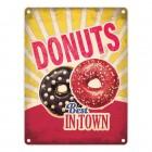 Metallschild mit American Diner Classics - Donuts Motiv
