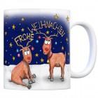Kaffeebecher mit Rentier Geweih Motiv und Spruch: Frohe Weihnachten