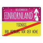 Willkommen im Einhornland - Tschüss Bad Homburg vor der Höhe Einhorn Metallschild