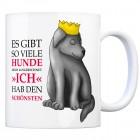 Kaffeebecher mit Hunde Motiv und Spruch: Es gibt so viele Hunde, doch ausgerechnet ...