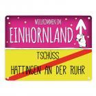Willkommen im Einhornland - Tschüss Hattingen an der Ruhr Einhorn Metallschild