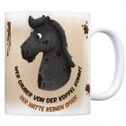 Kaffeebecher mit schwarzes Pferd Motiv und Spruch: Wer sauber von der Koppel kommt, ...