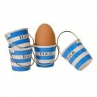 Eimer Eierbecher in blau-weiß im 4er Set