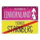 Willkommen im Einhornland - Tschüss Starnberg Einhorn Metallschild