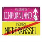 Willkommen im Einhornland - Tschüss Niederkassel Einhorn Metallschild