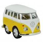 Volkswagen VW T1 Bus Comic Style Modellauto in gelb mit Rückziehmotor