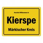 Herzlich willkommen in Kierspe, Märkischer Kreis Metallschild
