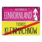 Willkommen im Einhornland - Tschüss Kleinmachnow Einhorn Metallschild