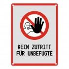 Kein Zutritt für Unbefugte Warn- und Hinweisschild in Grau mit Piktogramm