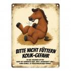 Metallschild mit Pferde Motiv und Spruch: Bitte nicht füttern - Kolik-Gefahr
