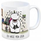 Kaffeebecher mit Einhorn Motiv und Spruch: Ich hasse mein Leben