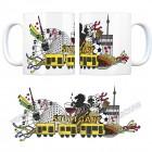 Kaffeebecher mit Wimmelgrafik Stuttgart Motiv
