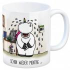 Kaffeebecher mit Einhorn Motiv und Spruch: Schon wieder Montag
