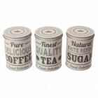 Kaffee, Tee & Zucker Blechdosen im 3er Set