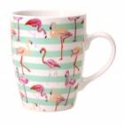 Flamingo Kaffeebecher mit grünen Streifen
