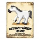 Metallschild mit weißes Pferd Motiv und Spruch: Bitte nicht füttern - Hufrehe