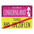 Willkommen im Einhornland - Tschüss Bad Salzuflen Einhorn Metallschild