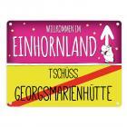 Willkommen im Einhornland - Tschüss Georgsmarienhütte Einhorn Metallschild