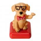Hund mit Sonnenbrille Solarfigur