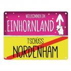 Willkommen im Einhornland - Tschüss Nordenham Einhorn Metallschild