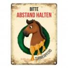 Metallschild mit Turnierpferd Motiv für Pferdeanhänger