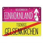 Willkommen im Einhornland - Tschüss Gelsenkirchen Einhorn Metallschild