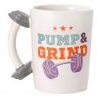 Fitness Kaffeebecher mit Hantel als Griff
