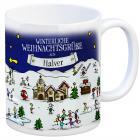Halver Weihnachten Kaffeebecher mit winterlichen Weihnachtsgrüßen