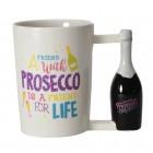 Prosecco Kaffeebecher mit Flasche als Griff