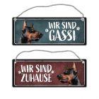 Wir sind Gassi/Zuhause - Dobermann Wendeschild mit Kordel