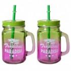 2er Set Tropical Paradise Trinkgläser mit Strohhalm in grün