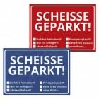 Scheisse Geparkt! Notizblöcke in blau und rot im 2er Set