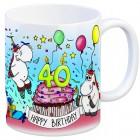 Honeycorns Tasse zum 40. Geburtstag mit Muffin und Einhorn Party