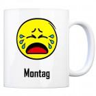 Kaffeebecher mit Spruch: Montag