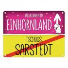Willkommen im Einhornland - Tschüss Sarstedt Einhorn Metallschild